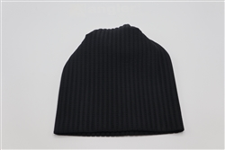 Plain Black Striped Beanie