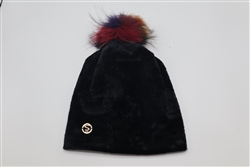 Velvet Black Beanie with Multicolor Pom Pom