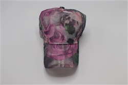 (Light Fabric) Rose Print Baseball Cap
