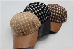 Tweed Baseball Cap with Leather Visor