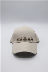 Beige Baseball Cap with Star Rhinestones