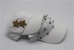 White Baseball Cap Star/Stone
