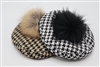 Houndstooth Barrrett with Pom Pom