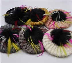 Italian Wool Barrett with multicolor Pom Pom
