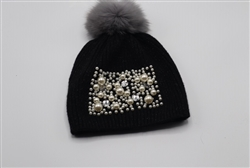 Pom-Pom Hat with Pearl Square Design