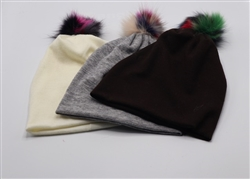 Wool Beanie with Small Multicolor Pom-Pom