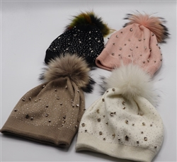 Pom-Pom Hat with Rhinestones