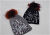 Pom-Pom Hat with Rectangle Rhinestones