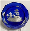 Antique Baccarat Hunter & Dog Sulphide - Blue