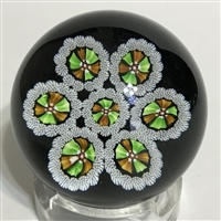 J Glass Millefiori Paperweight