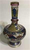 Harrach Cut & Enameled Vase