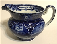 Blue/white Staffordshire Pilgrim Pitcher