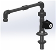 "PVC Lab Faucet, Deck Mnt , Swivel Union, DV, 12"" Throat, 8"" Overall Height, Rem barb Tip, PVC Aerator Outlet, Right Handle"