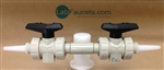 Lab Turret, Deck Mount, Dual Standard Ball Valves with Serrated Barb Tips, Natural Polypropylene