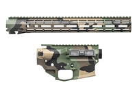 "AERO PRECISION M4E1 BUILDER SET M81 WOODLAND CAMO BUILDER SET W/ ATLAS R-ONE 15"" MLOK RAIL"