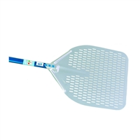 "Aluminum Pizza Peel Rectangular Perforated 14"" - Handle 20"""
