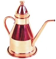 Oil Can, Tinned Copper Cruet Old Fashioned - 1 Pint