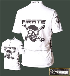 Pirate Cycling Jersey WHITE Short Sleeve, XS-4XL