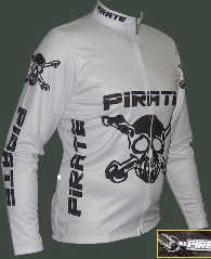 Pirate Long Sleeve Cycling Jersey White Warm Up Jacket