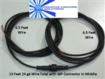 2 Wire Waterproof Connector Set - 6 Foot Leads Each Side M-F - Locking, Gasket and Keyed, Black, Red Wires - 22 GA.