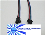 "4 Wire RGB Molex Connector Set - 8"" Leads M-F SET - Locking and Keyed, Black, Red, Blue & Green Wires - 22 GA."