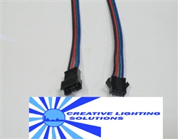 "4 Wire RGB Molex Connector Set - 6"" Leads M-F SET - Locking and Keyed, Black, Red, Blue & Green Wires - 22 GA."
