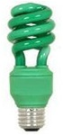 Green Light Bulb, Green CFL Spiral Compact Fluorescent - 13 Watts