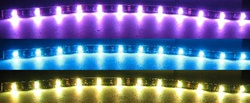 RGB LED Flex Strip - 12vdc - Water Resistant, Double Density strip with leads!