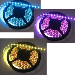 RGB LED Ribbon Flexible Strips - 12 volt DC, Red/Green/Blue, Tri-Color, 5 Meter Spool, Double Density LEDS! - Low power consumption, infinite uses.  We manufacture our LED Flexible Ribbon spools and Flex Ribbon Tape to ensure a Top Quality product!