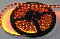 Orange Water Resistant LED Flexible Ribbon Strips | LED Ribbon Tape - Low power consumption, infinite uses.  We manufacture our LED Flexible Ribbon spools and Flex Ribbon Tape to ensure a quality product and the best possible price to you, our customer!