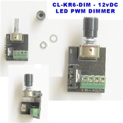 LED Dimmer - 24v Rotary PWM LED Dimmer - Click On/Off, 6 Amps - 144 Watt