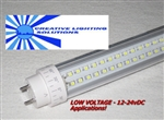 T10 LED Tube Light - 800 Lumens, 2 foot, Day White, 8 Watt, 180 LED, 12V-24VDC!, Clear Lens