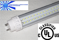 LED SMD T8 T10 Tube Light - 1800 Lumens, 4 foot, Day White, 18 Watt, 290 LED, 90V-277VAC, Clear Lens, Commercial Grade - UL Listed!