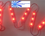 Red Waterproof LED Module - 12vDC 3 SMD 5050 LEDs, White Case
