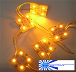 Amber Waterproof LED Module - 12vDC 4 SMD 5050 LEDs, White Case