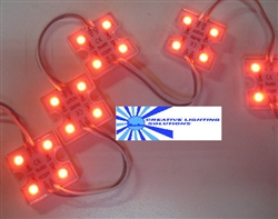 Red Waterproof LED Module - 12vDC 4 SMD 5050 LEDs, White Case