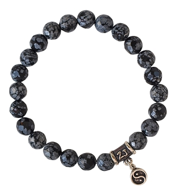 GROUNDED - Snowflake Obsidian Healing Crystal Bracelet - zen jewelz