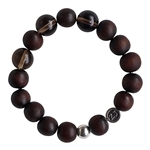 WOOD BRACELET With Smokey Quartz Healing Crystals - zen jewelz