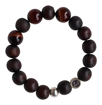 WOOD BRACELET With Red Tiger Eye Healing Gemstones - zen jewelz