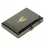 85mm Embossed Etched SKULL WING Cigarette Cigar Case Holder & Detechable Lighter