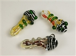 "Insideout Glass pipe with black head and nice colors, about 4.5"" long. Heavy as a rock! Unit price: $17.90"