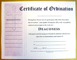 Certificate of Ordination for Deaconess