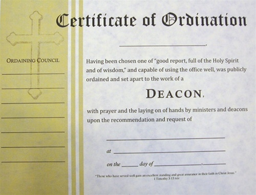 Certificate of ordination for deacon for Certificate of salvation template