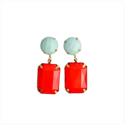 Sea Foam/Red Earrings