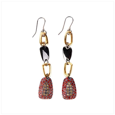 Black/Red Drop Earrings