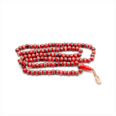 Red Pattern Bead Necklace
