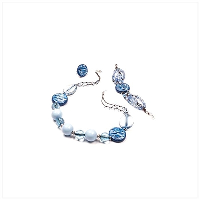 Blue Necklace, Bracelet and Earrings