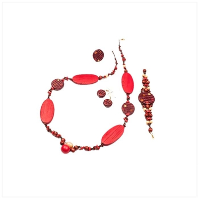 Red/Orange Necklace, Bracelet and Earrings