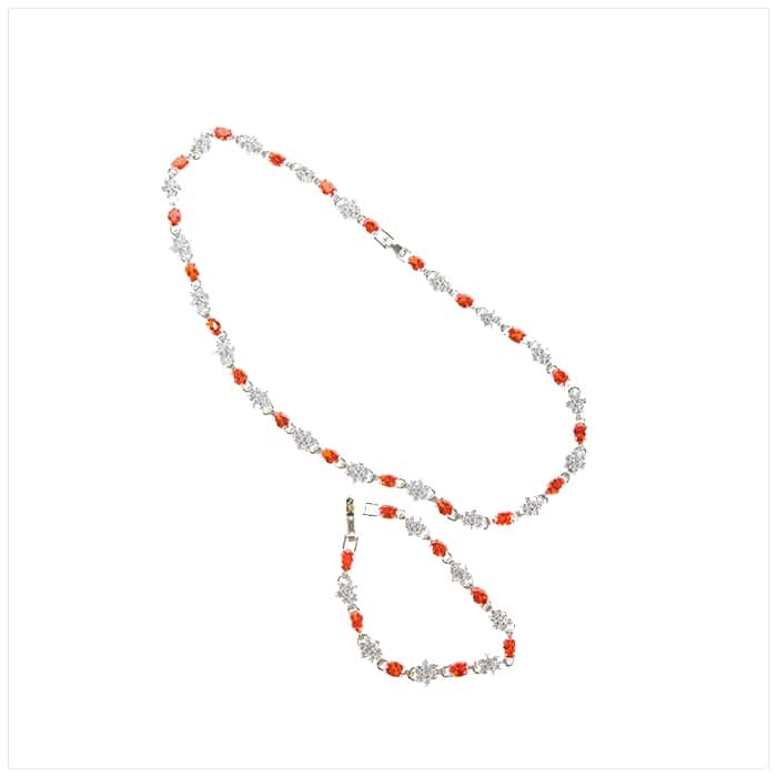 Silver/Orange Necklace and Bracelet