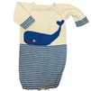 Organic Baby Gown - Hand Knit Blue Whale - Estella